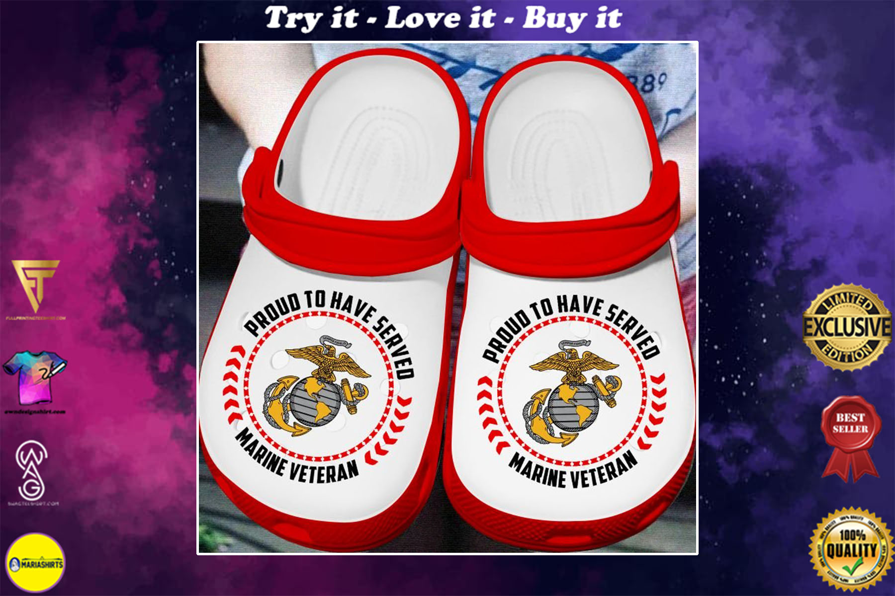 [special edition] proud to have served marine veteran crocs shoes - maria