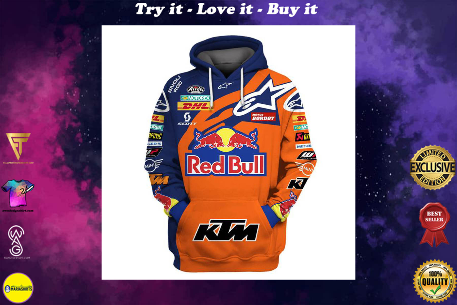 [special edition] red bull and ktm factory racing full printing shirt - maria