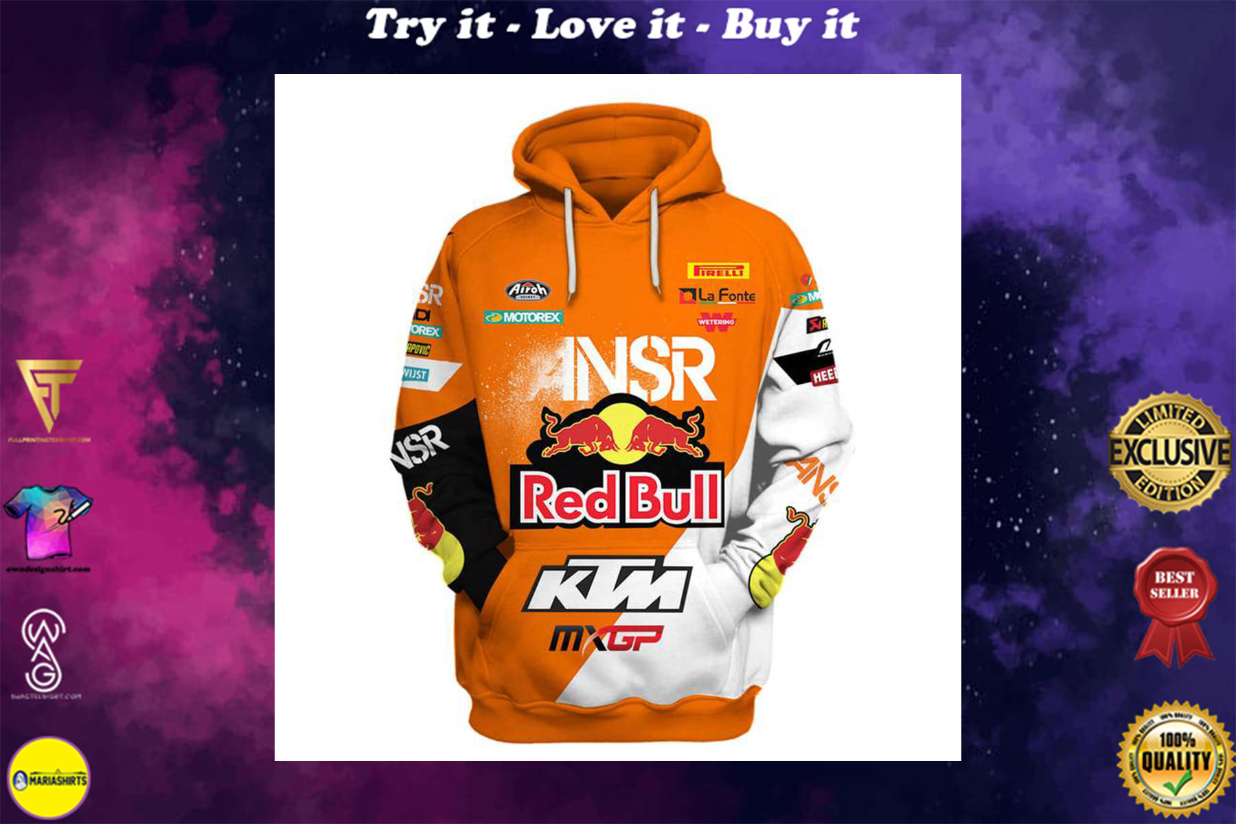 [special edition] red bull answer racing ktm motorcycles full printing shirt - maria