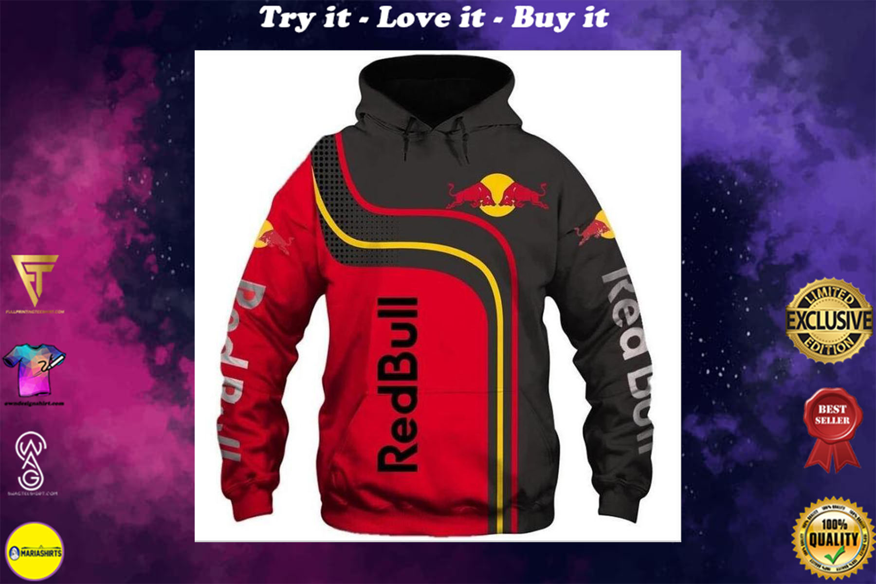 [special edition] red bull energy drink racing full printing shirt - maria