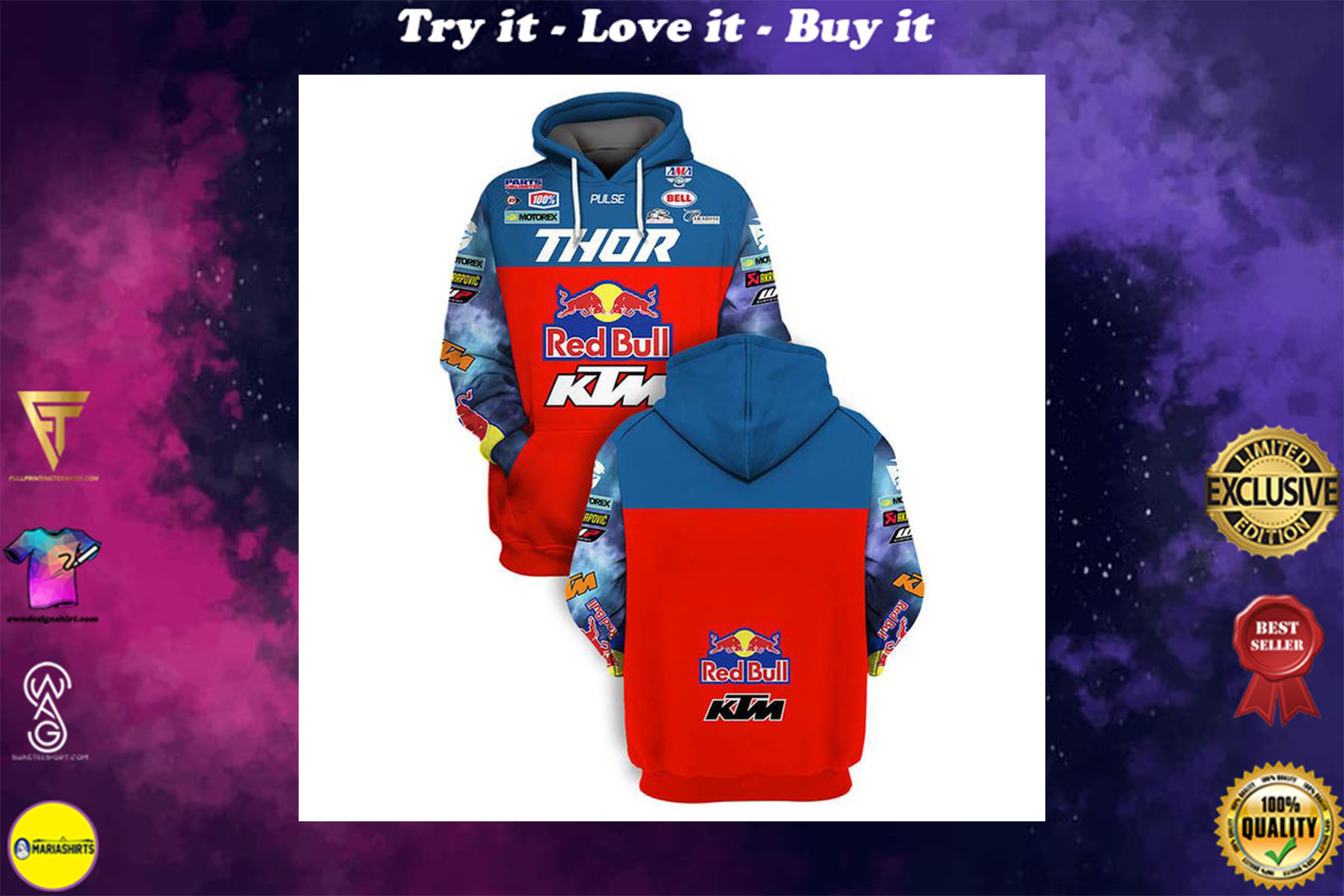 [special edition] red bull ktm racing team sports car motorcycles full printing shirt - maria