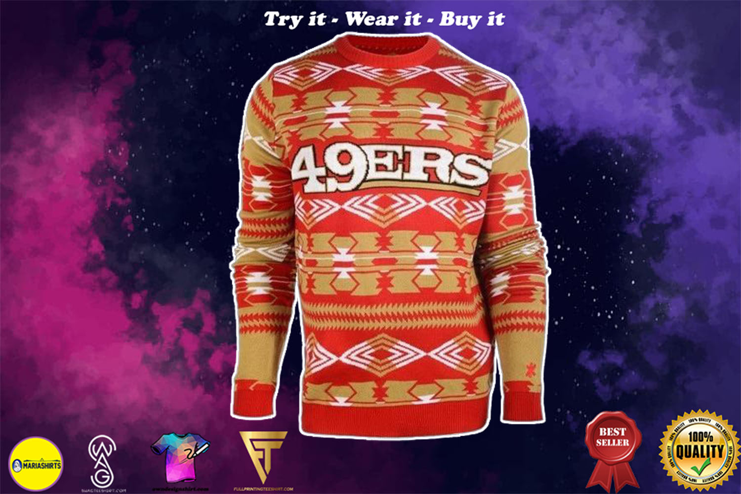 [special edition] san francisco 49ers aztec print ugly christmas sweater - maria