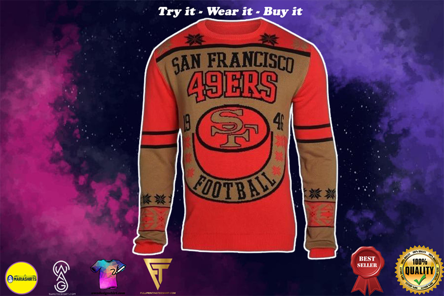 [special edition] san francisco 49ers holiday ugly christmas sweater - maria