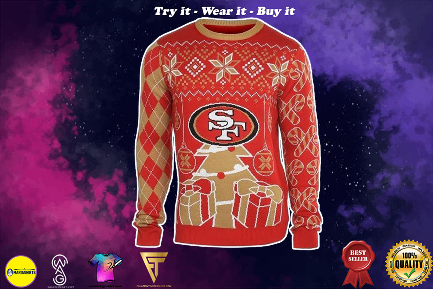 [special edition] san francisco 49ers national football league ugly christmas sweater - maria