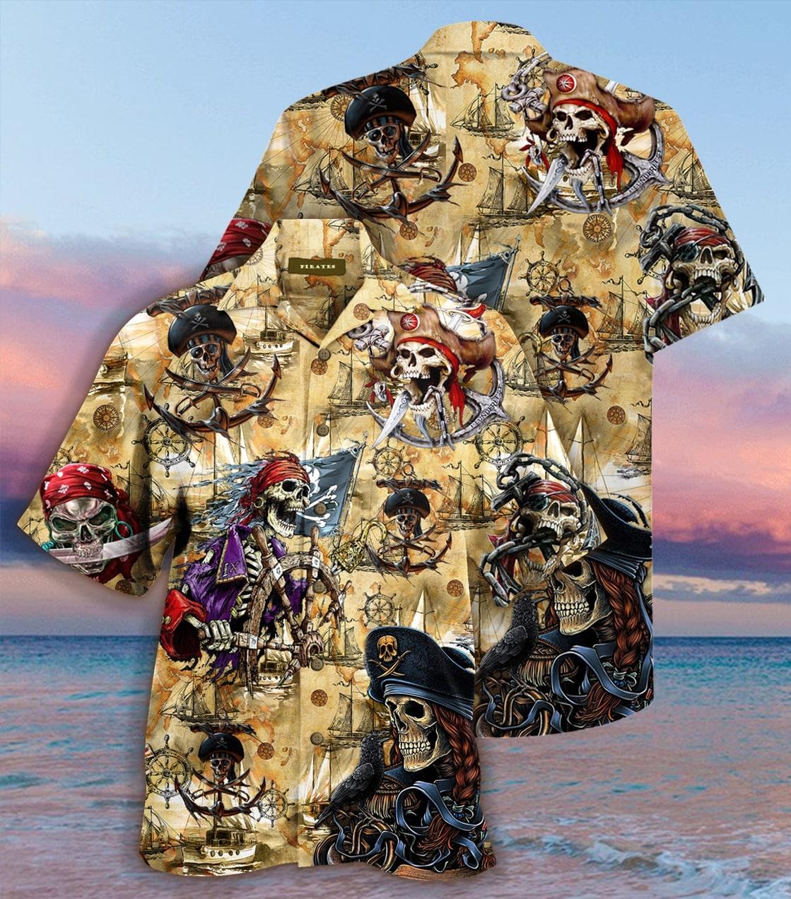 [special edition] sea map pirate skull hawaiian shirt - Maria