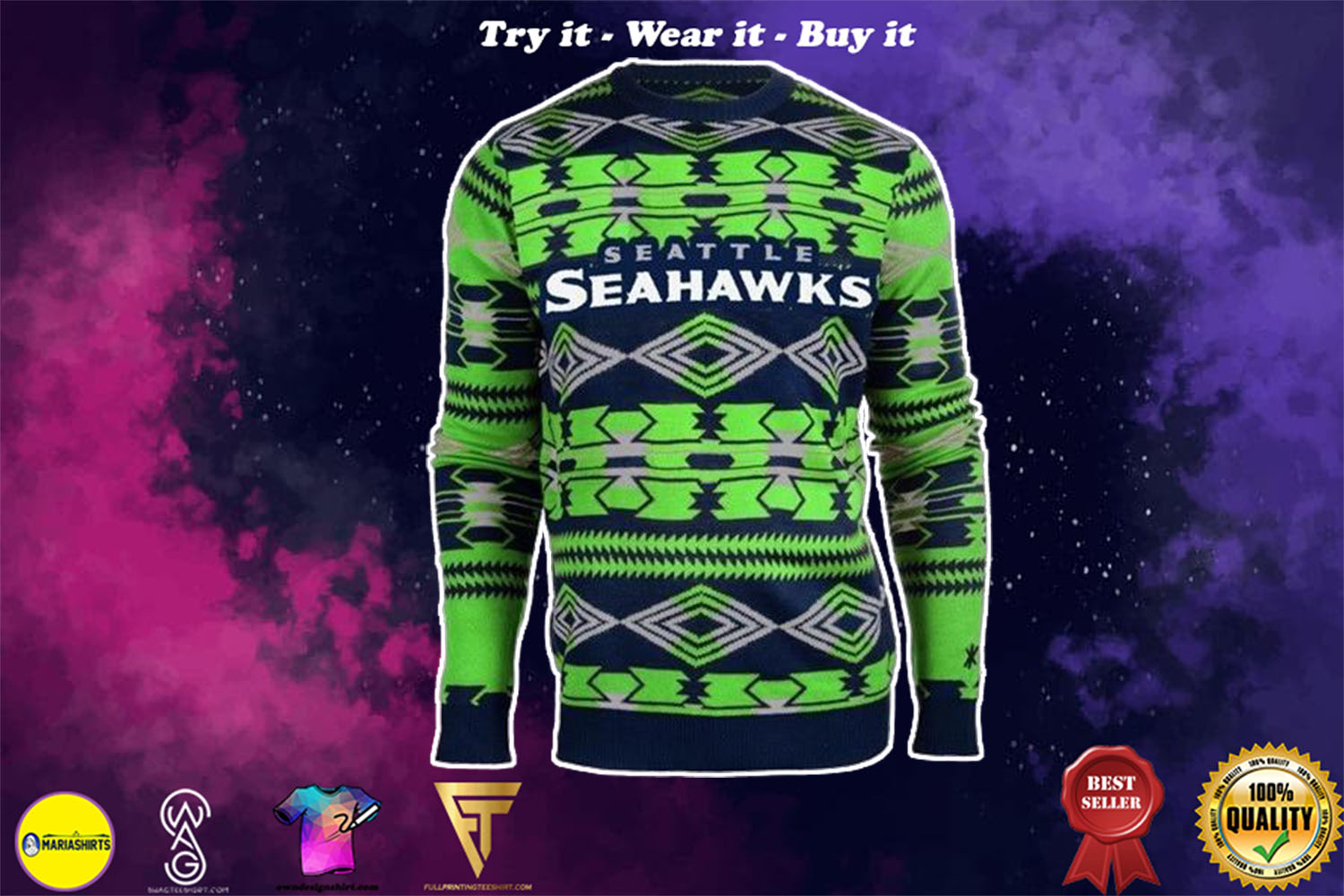 [special edition] seattle seahawks aztec print ugly christmas sweater - maria