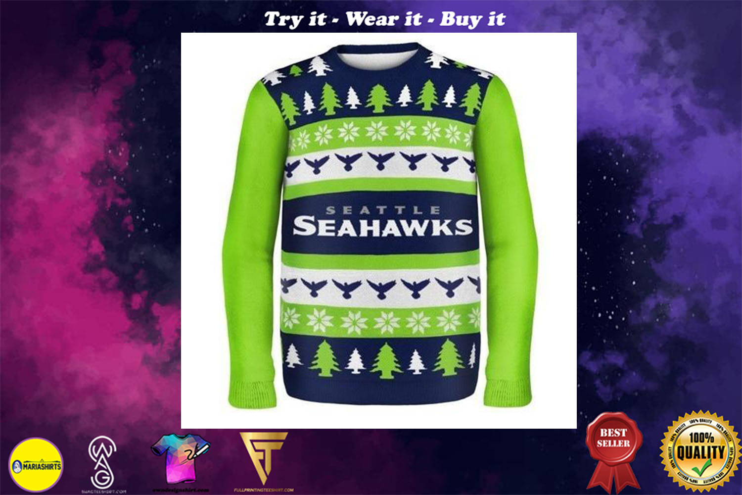 [special edition] seattle seahawks ugly christmas sweater - maria