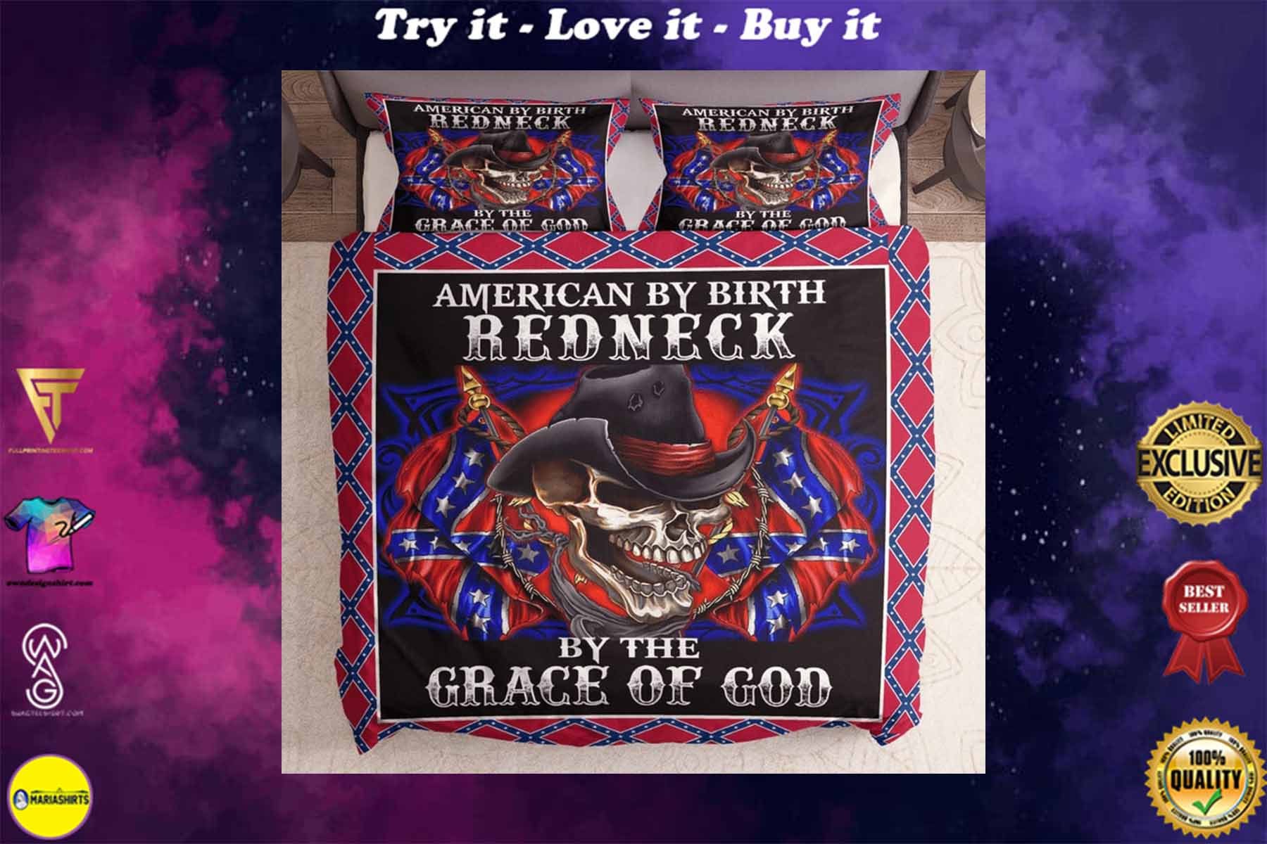 [special edition] skull american by birth redneck by the grace of God confederate flag bedding set - maria