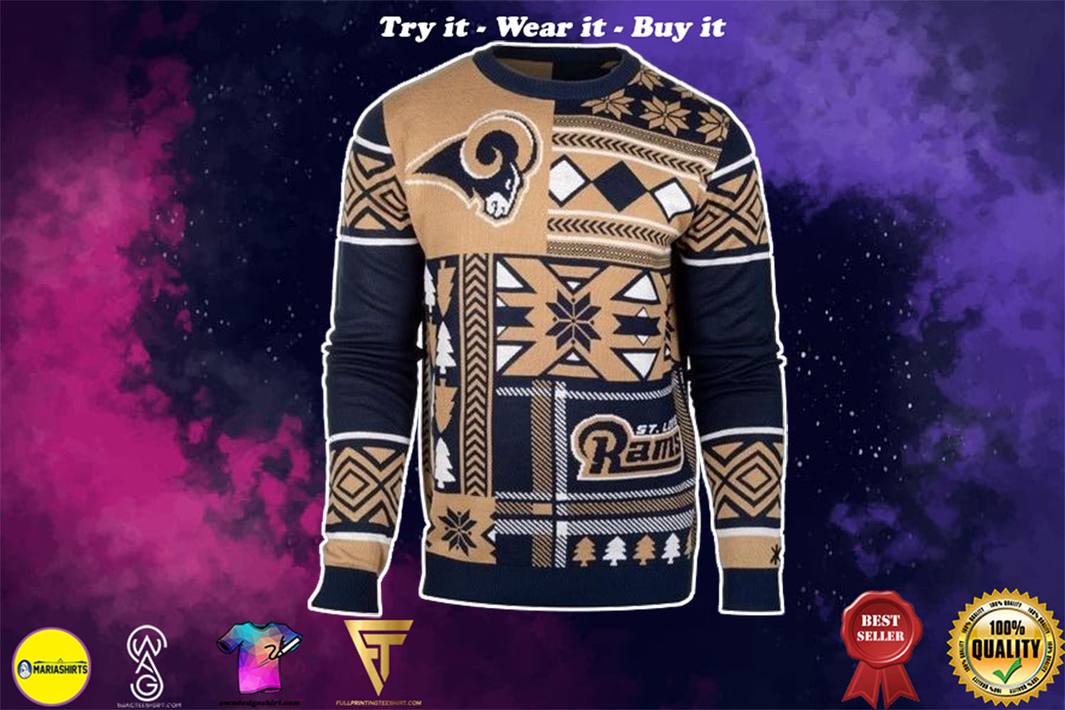 [special edition] st louis rams patches ugly christmas sweater - maria