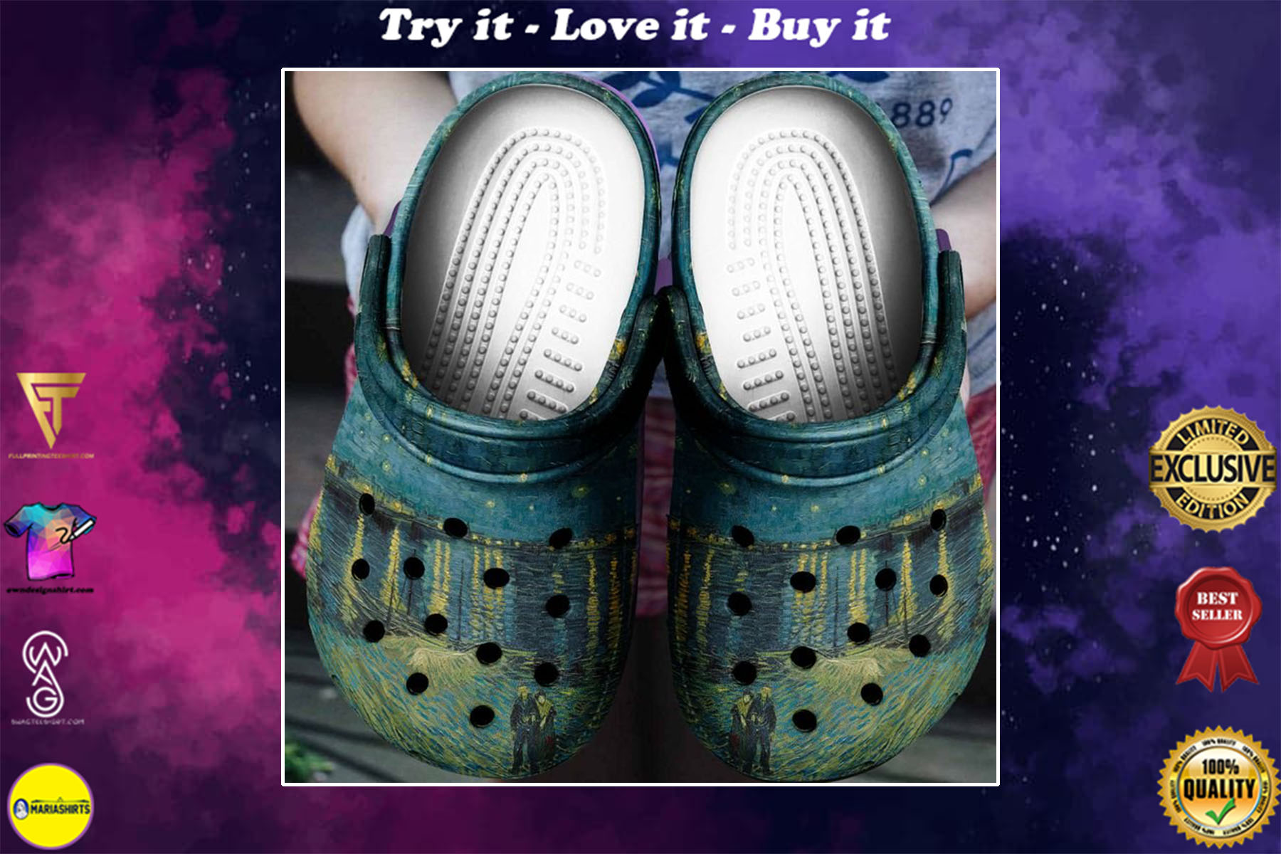 [special edition] starry night over the rhone van gogh crocs shoes - maria