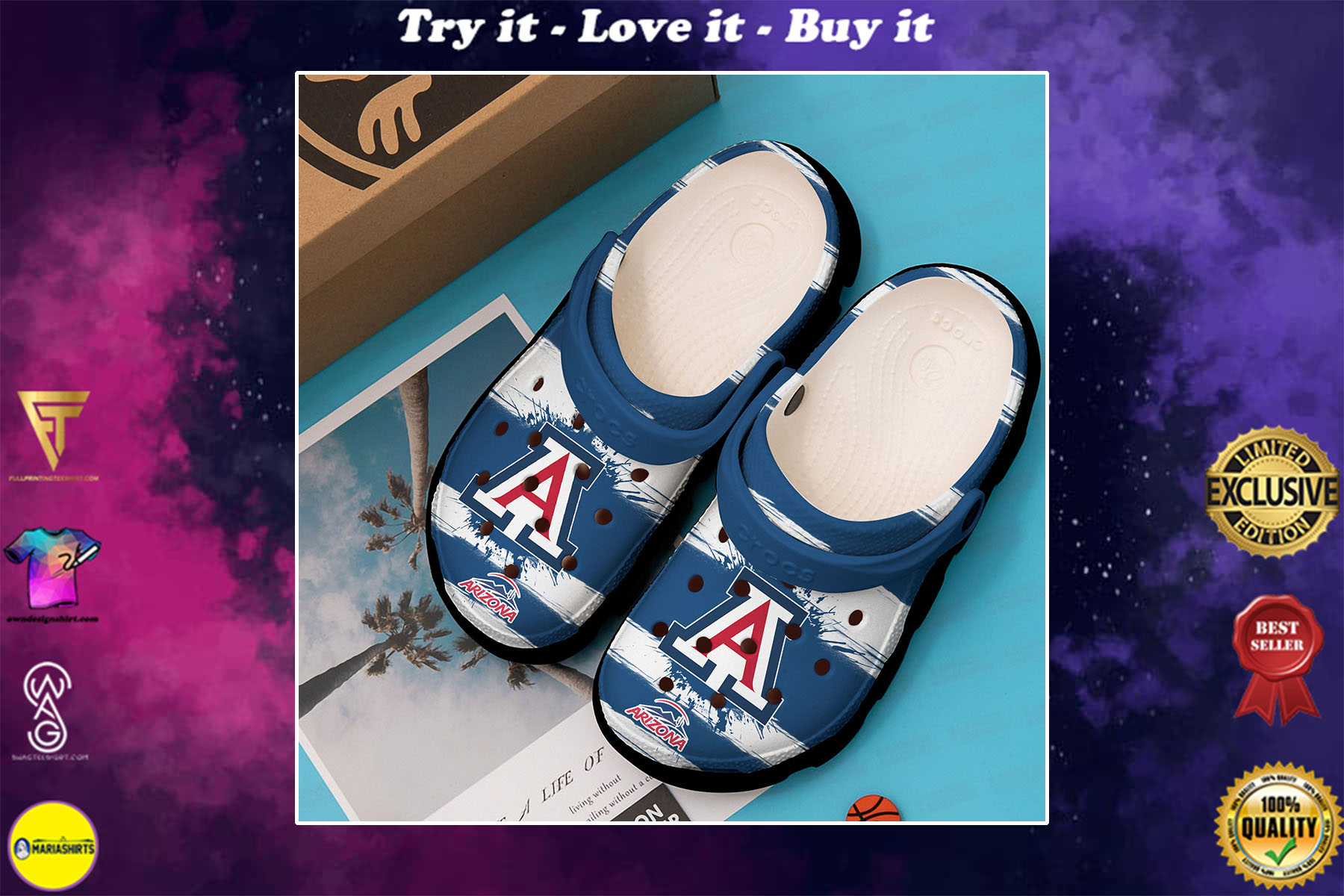 [special edition] the arizona wildcats football crocs shoes - maria