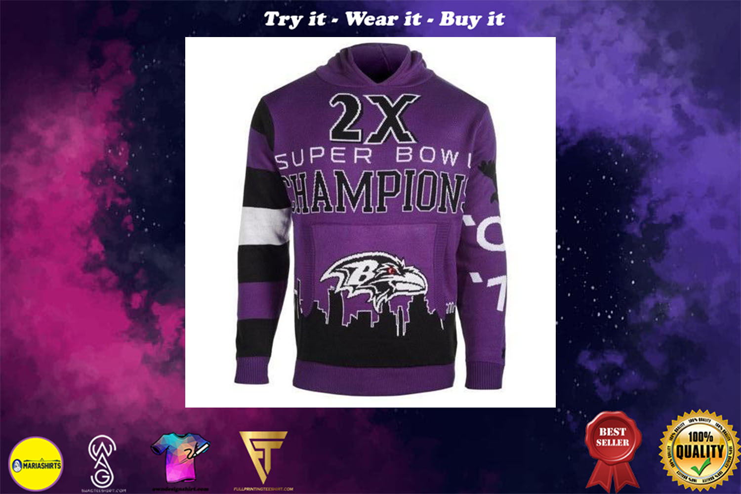 [special edition] the baltimore ravens super bowl champions full over print shirt - maria