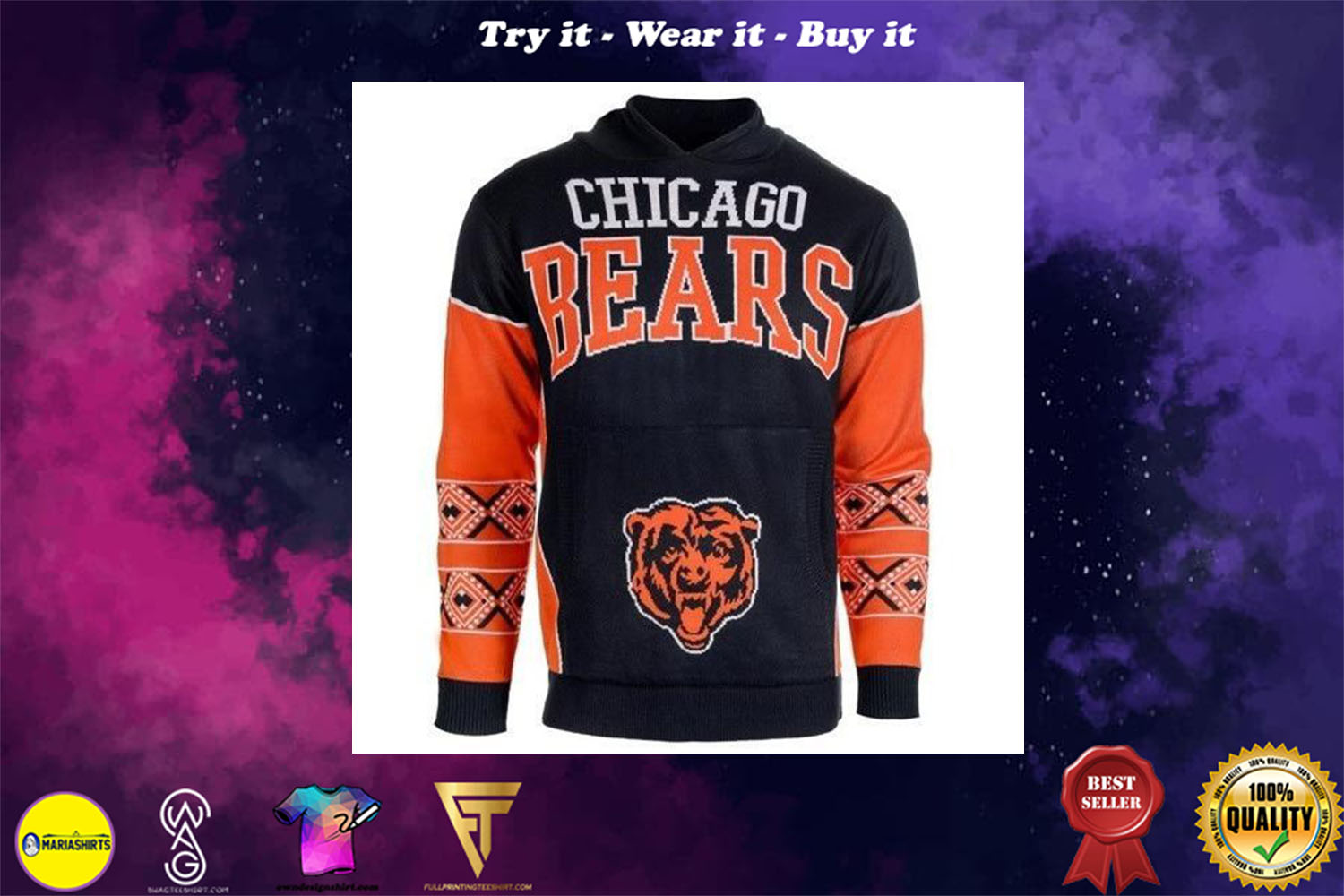 [special edition] the chicago bears nfl full over print shirt - maria