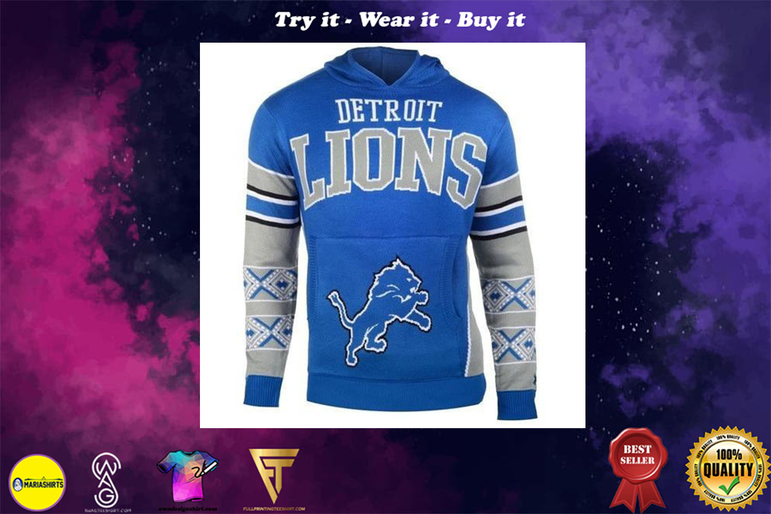 [special edition] the detroit lions nfl full over print shirt - maria