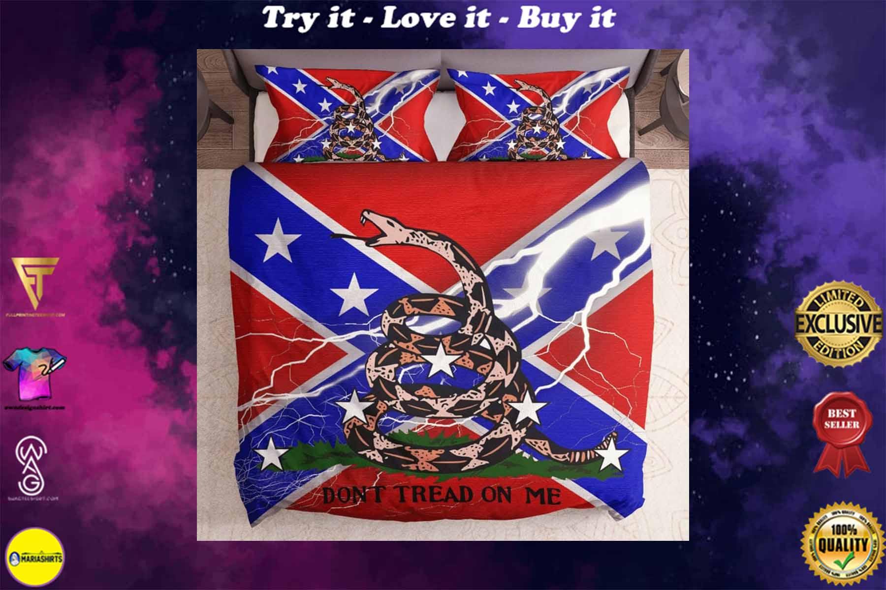[special edition] the gadsden flag and confederate flag bedding set - maria
