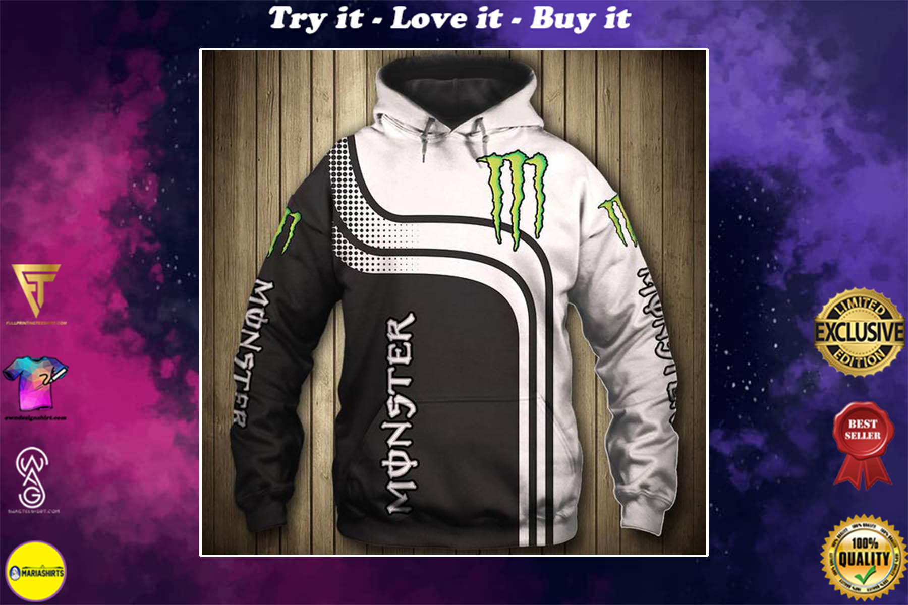 [special edition] the monster energy symbol full printing shirt - maria