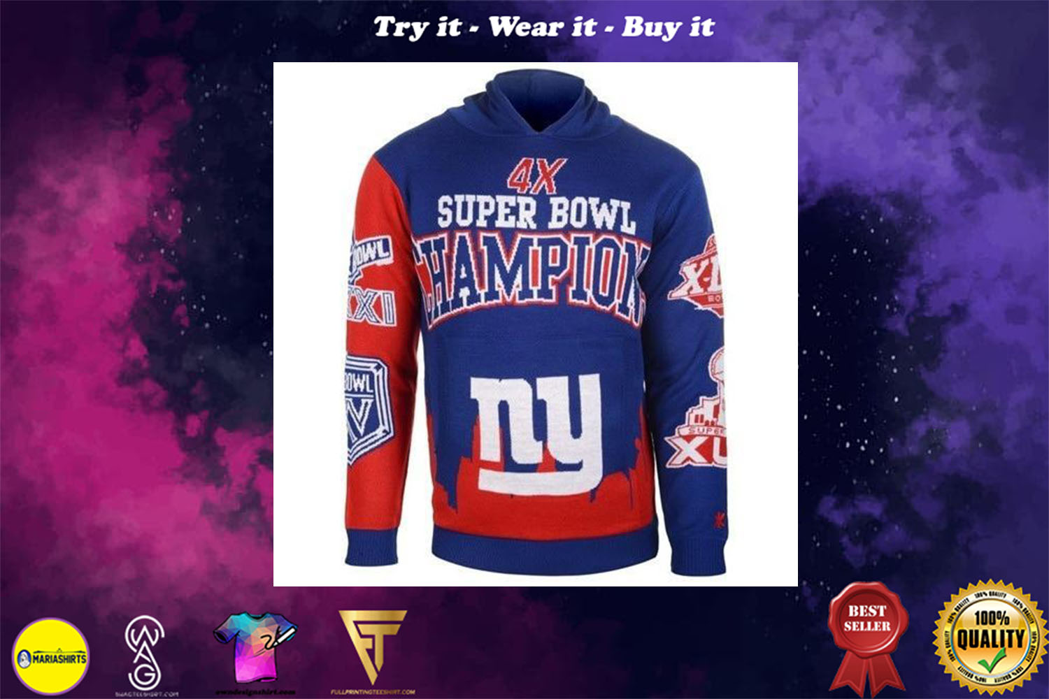 [special edition] the new york giants super bowl champions full over print shirt - maria