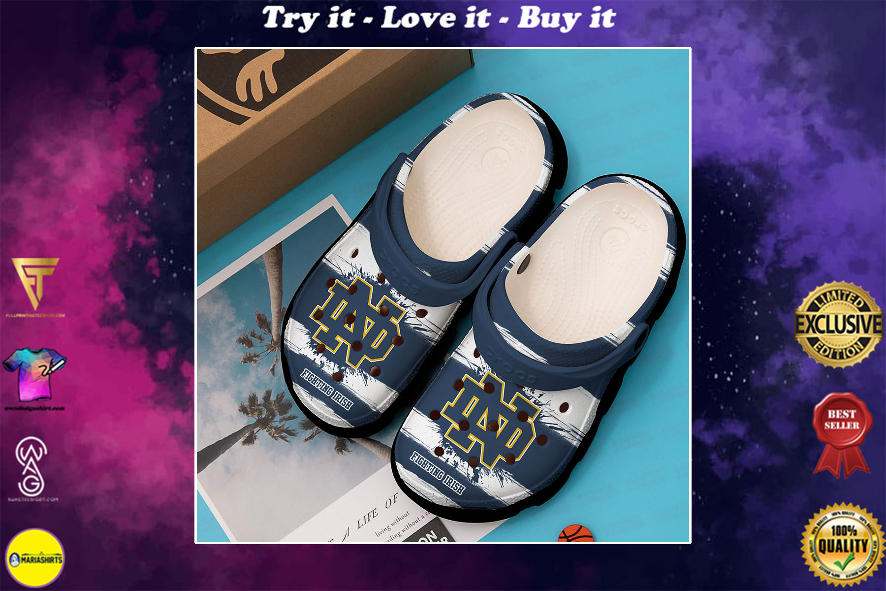 [special edition] the notre dame fighting irish football team crocs shoes - maria