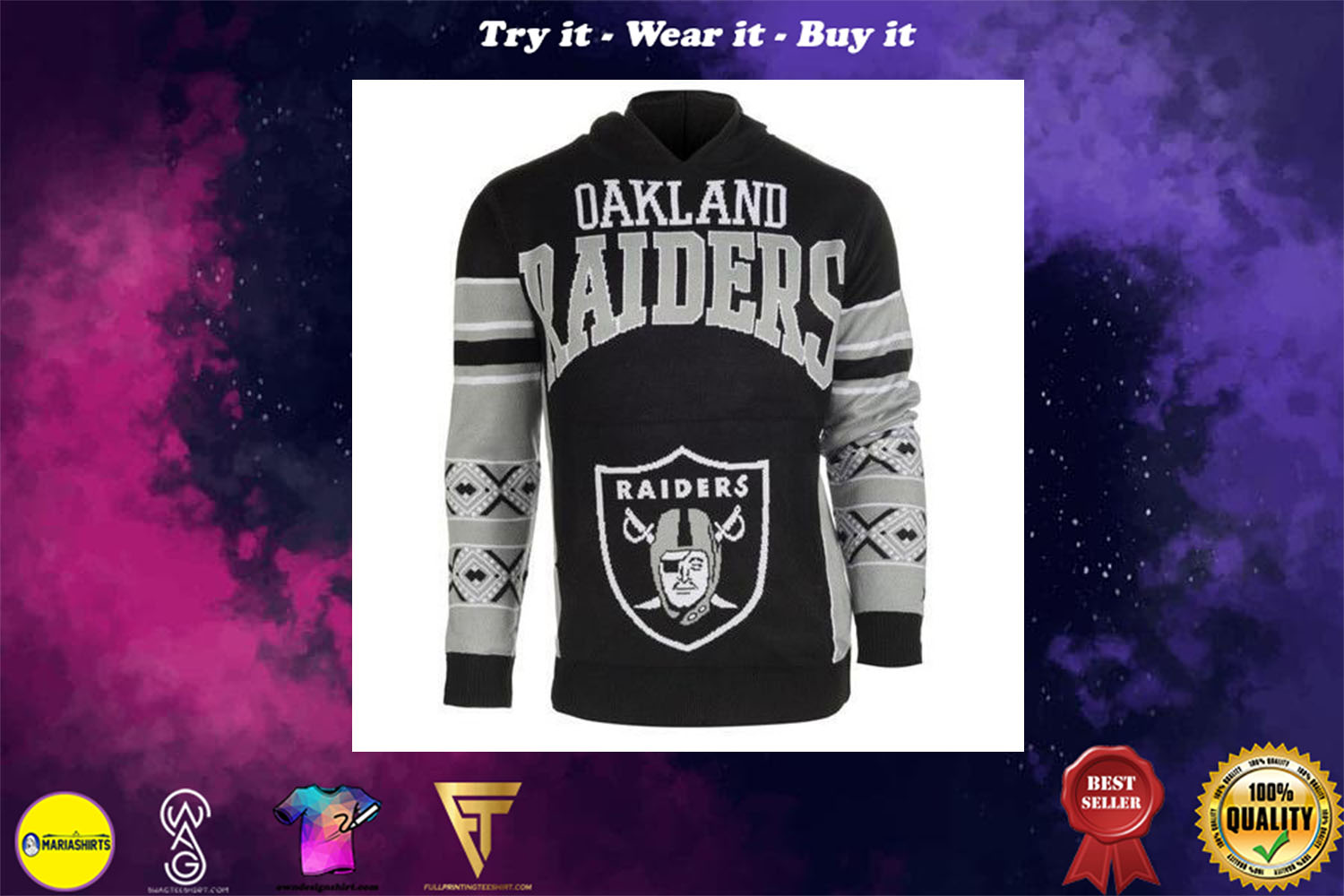 [special edition] the oakland raiders nfl full over print shirt - maria