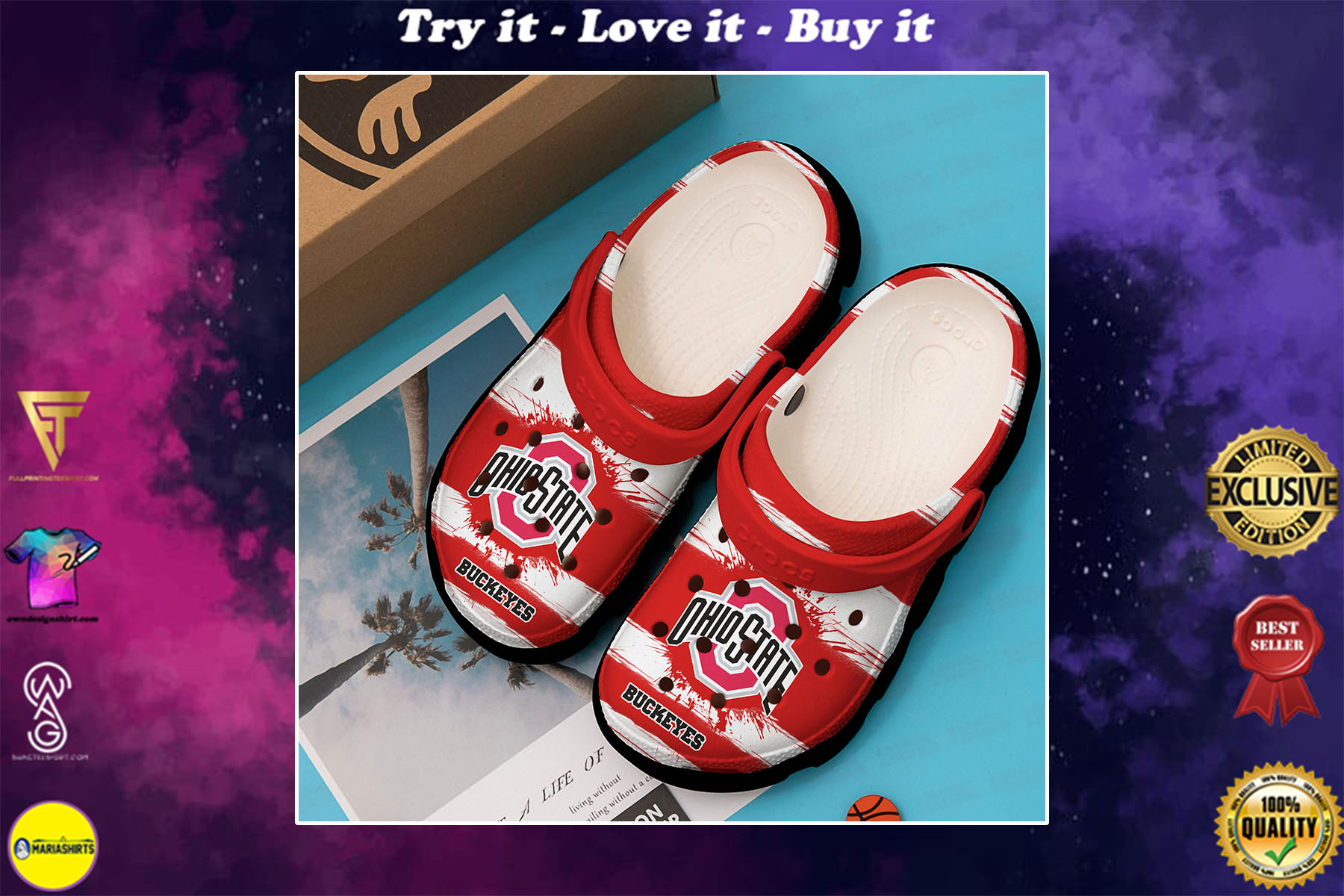 [special edition] the ohio state buckeyes nfl crocs shoes - maria