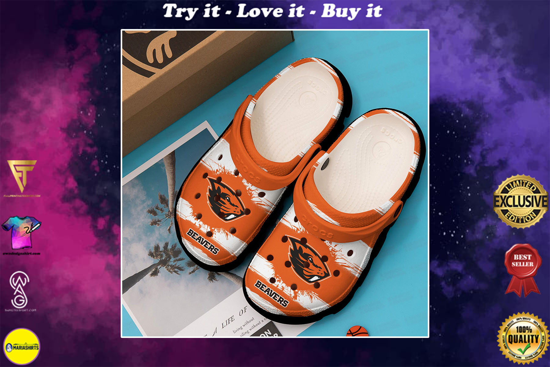 [special edition] the oregon state beavers football crocs shoes - maria