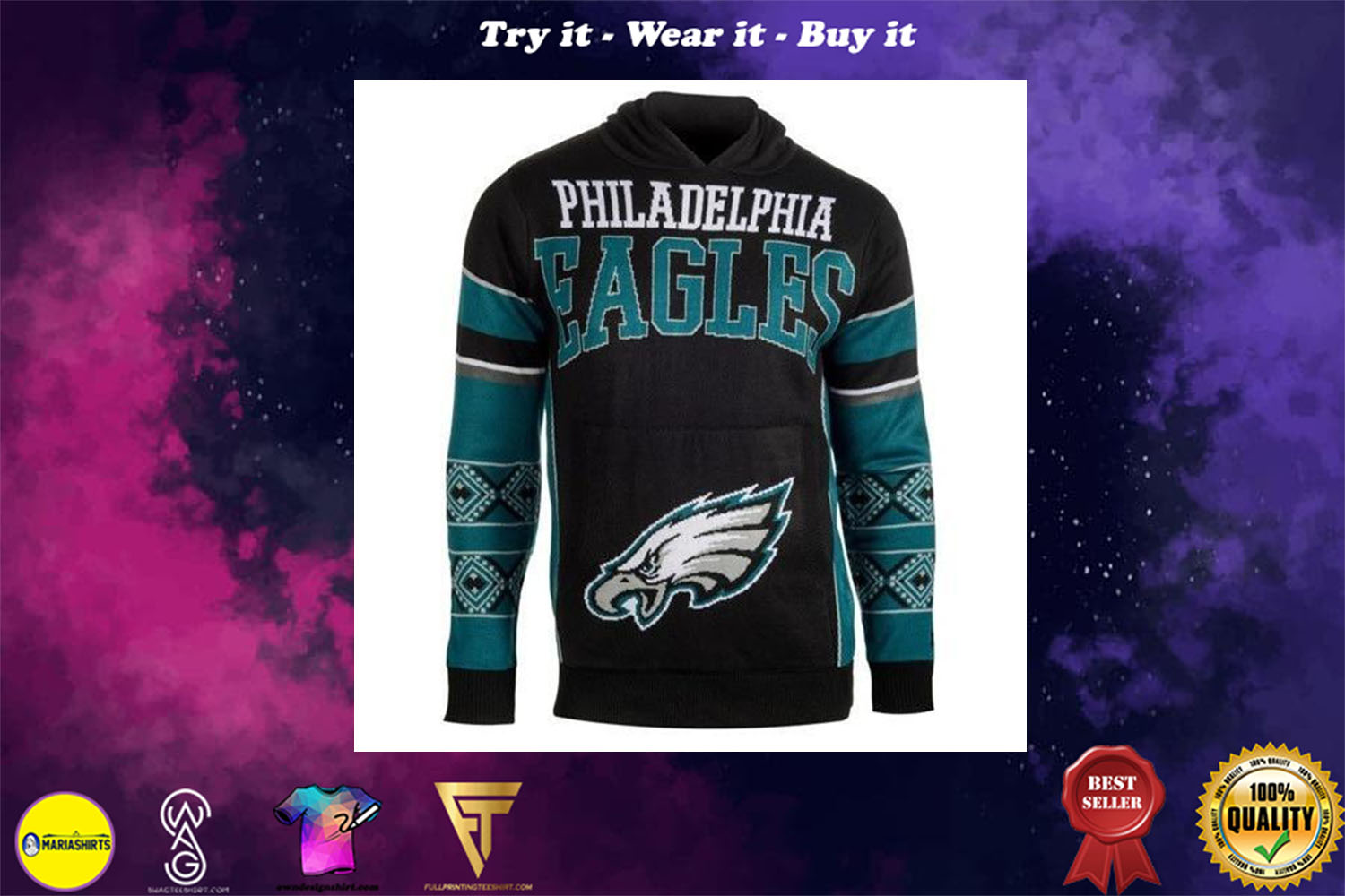 [special edition] the philadelphia eagles full over print shirt - maria