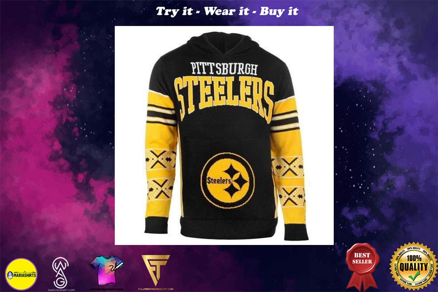 [special edition] the pittsburgh steelers full over print shirt - maria