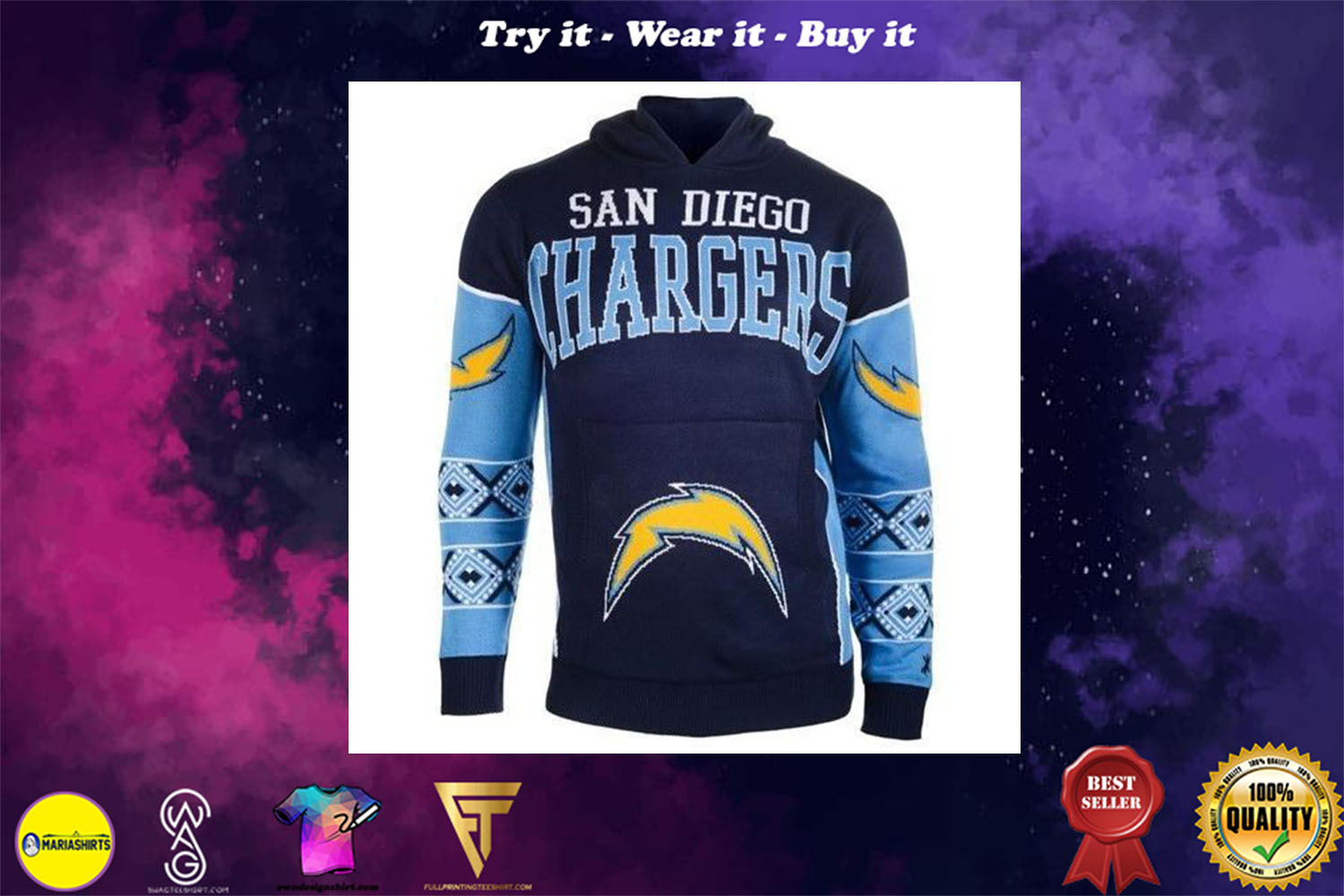 [special edition] the san diego chargers full over print shirt - maria