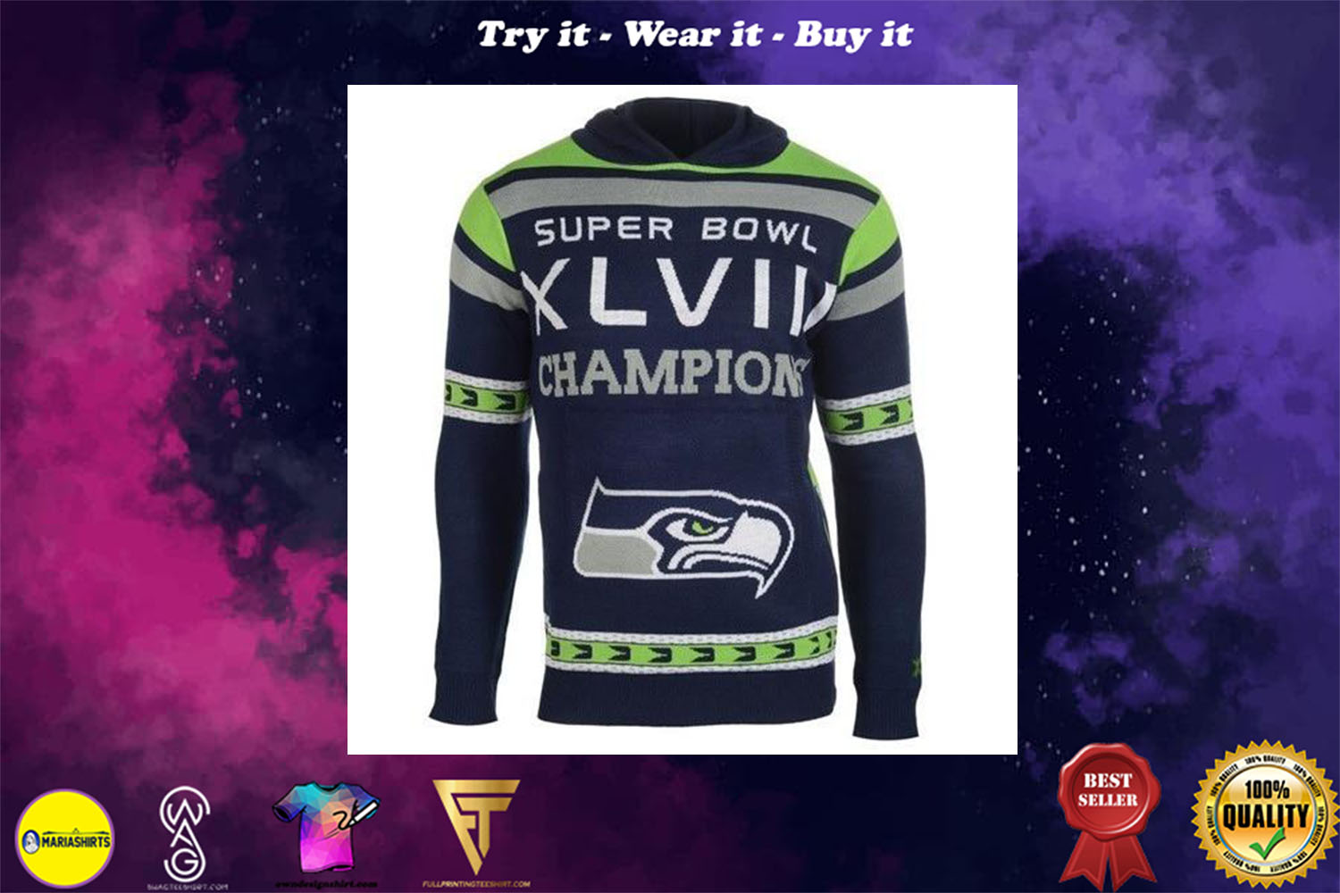 [special edition] the seattle seahawks super bowl champions full over print shirt - maria