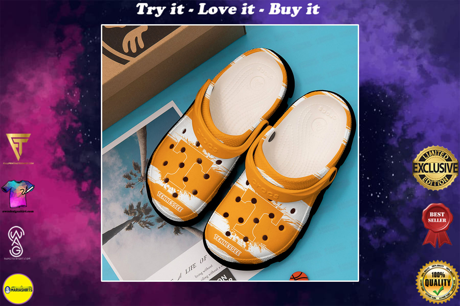 [special edition] the tennessee volunteers football crocs shoes - maria