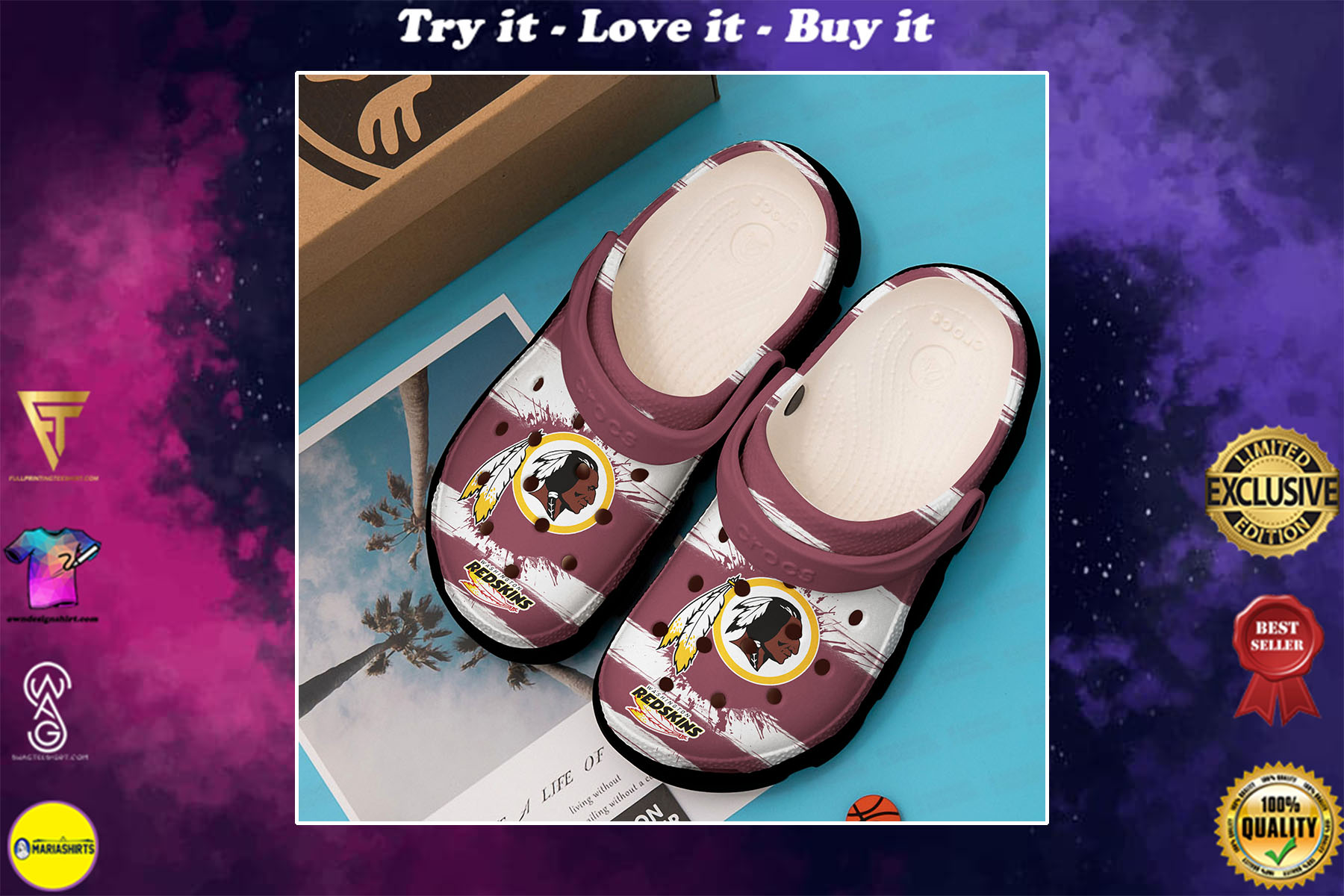[special edition] the washington redskins nfl crocs shoes - maria