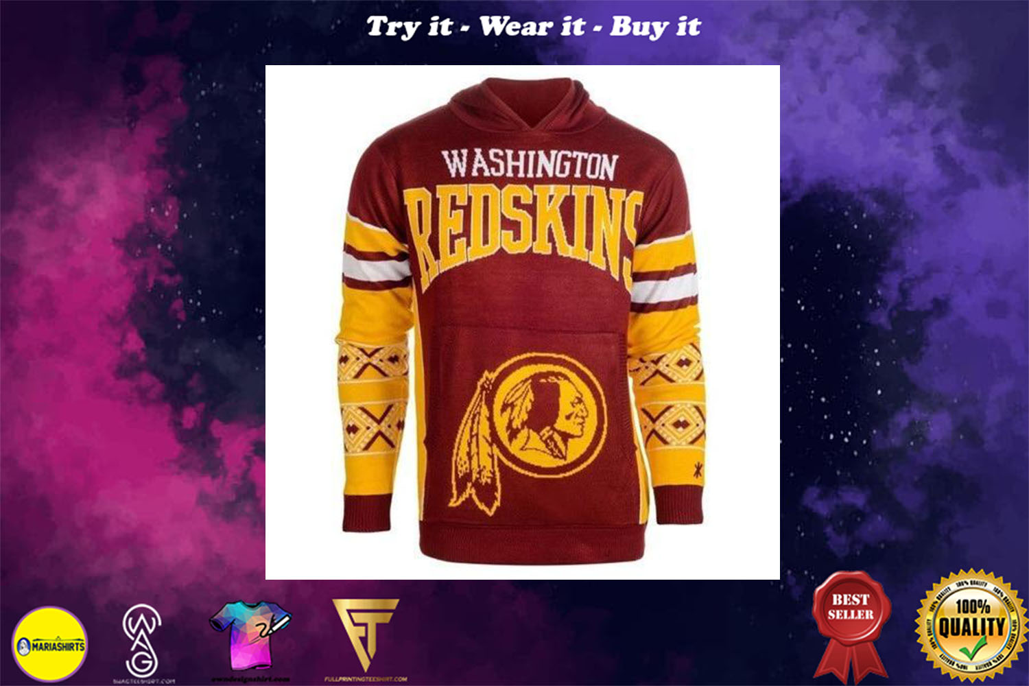 [special edition] the washington redskins nfl full over print shirt - maria