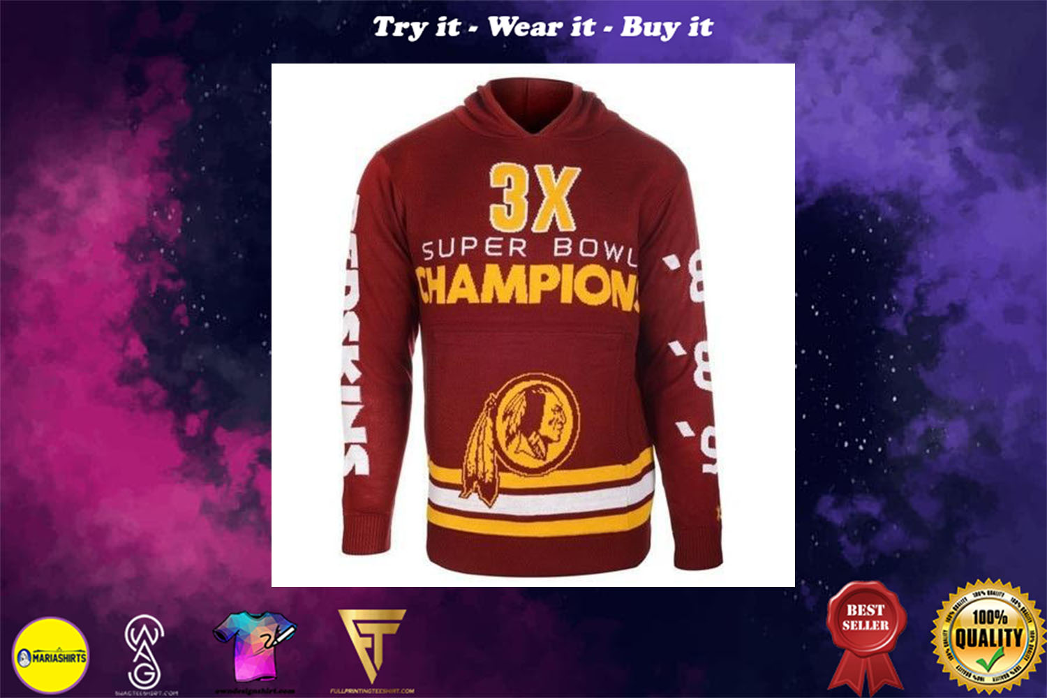 [special edition] the washington redskins super bowl champions full over print shirt - maria