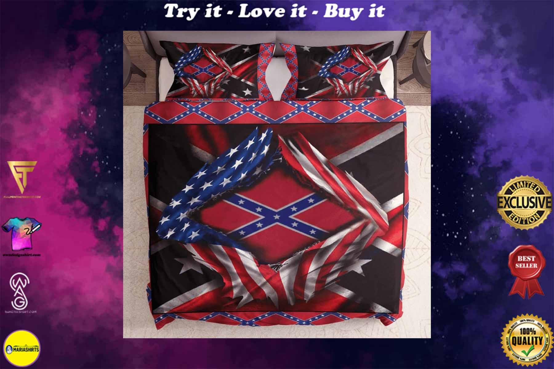 [special edition] usa flag and confederate flag bedding set - maria