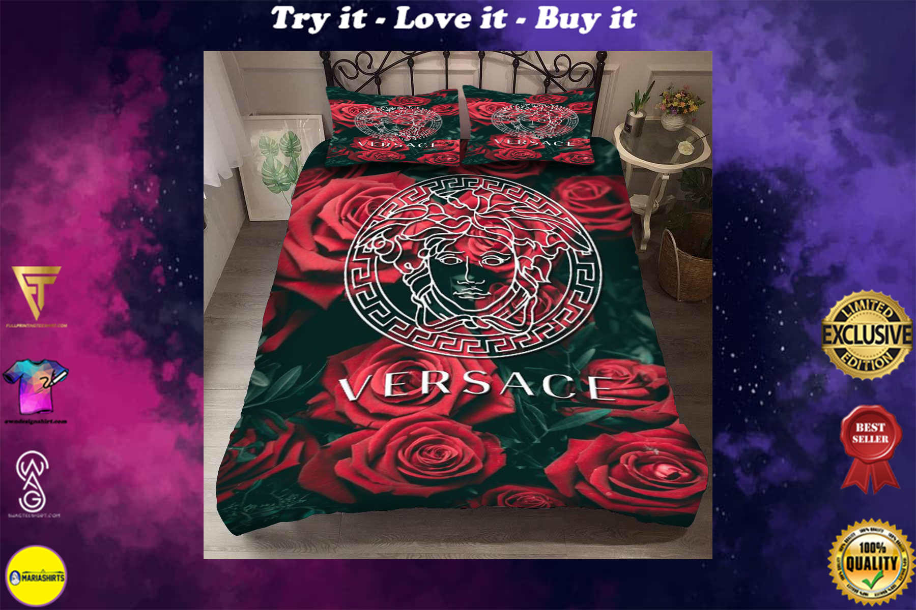 [special edition] versace symbols and roses bedding set - maria