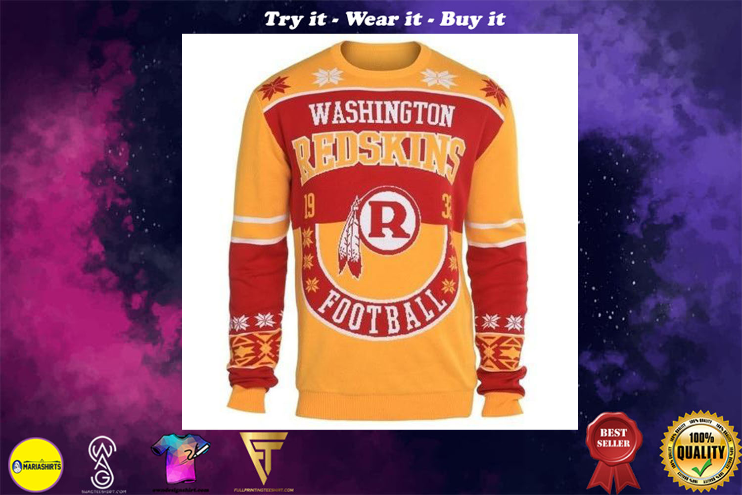[special edition] washington redskins holiday ugly christmas sweater - maria