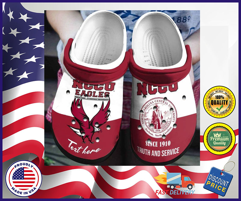 NCCU Eagles since 1910 truth and service custom personalized name crocs shoes