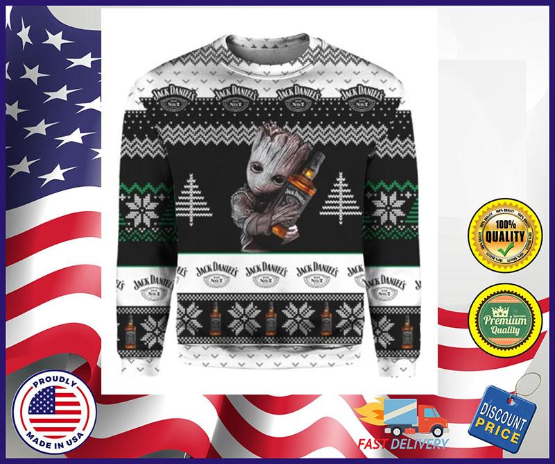 Baby Yoda hug Jack Daniels ugly Christmas sweater