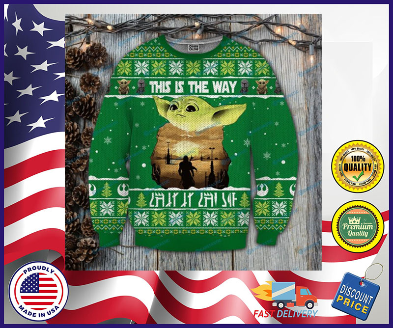 Baby Yoda this is the way ugly Christmas sweater