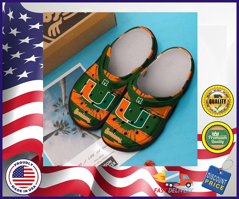 Miami Hurricanes football crocs shoes crocband