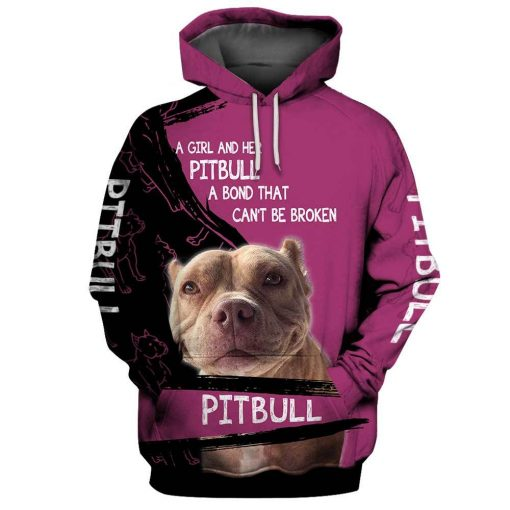 A girl and her pitbull personalized custom name 3d hoodie and t-shirt