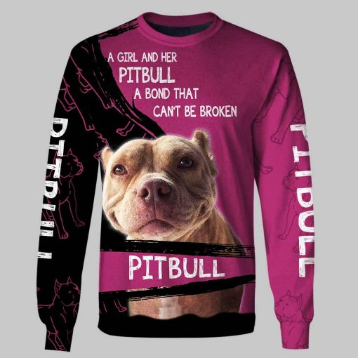 A girl and her pitbull personalized custom name 3d long sleeve tee
