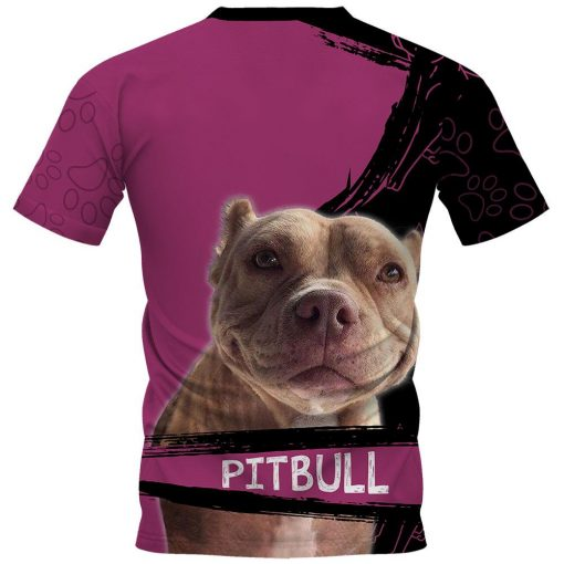 A girl and her pitbull personalized custom name 3d t-shirt