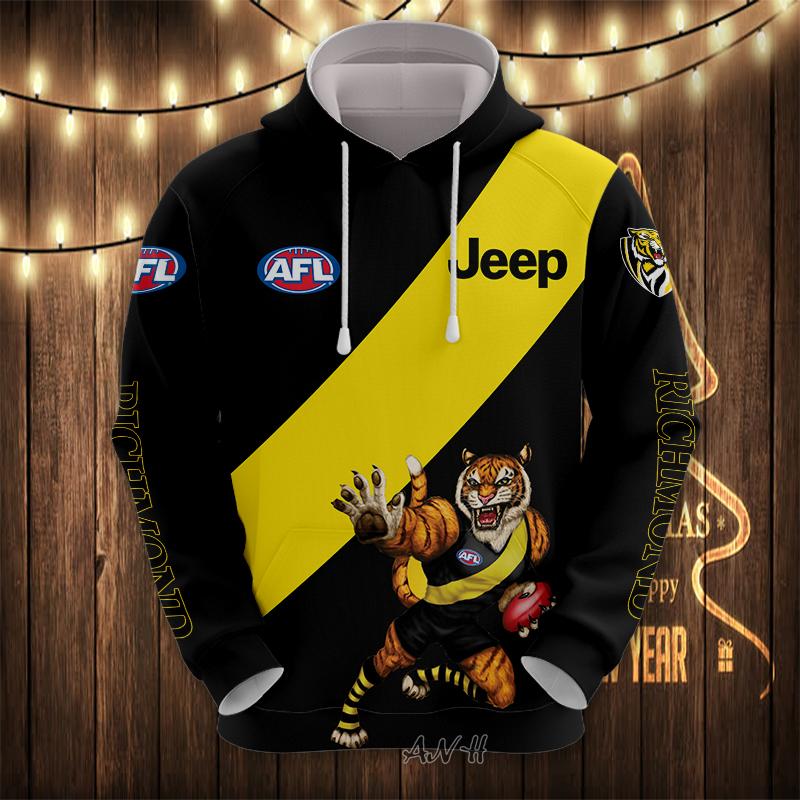 AFL Richmond 3d hoodie and zip hoodie