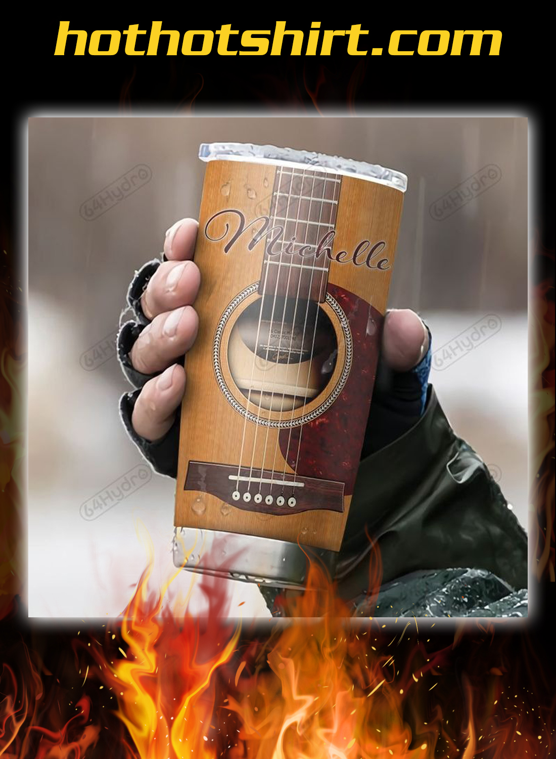 Acoustic Guitar Nutrition Facts Personalized Custom Name tumbler 1