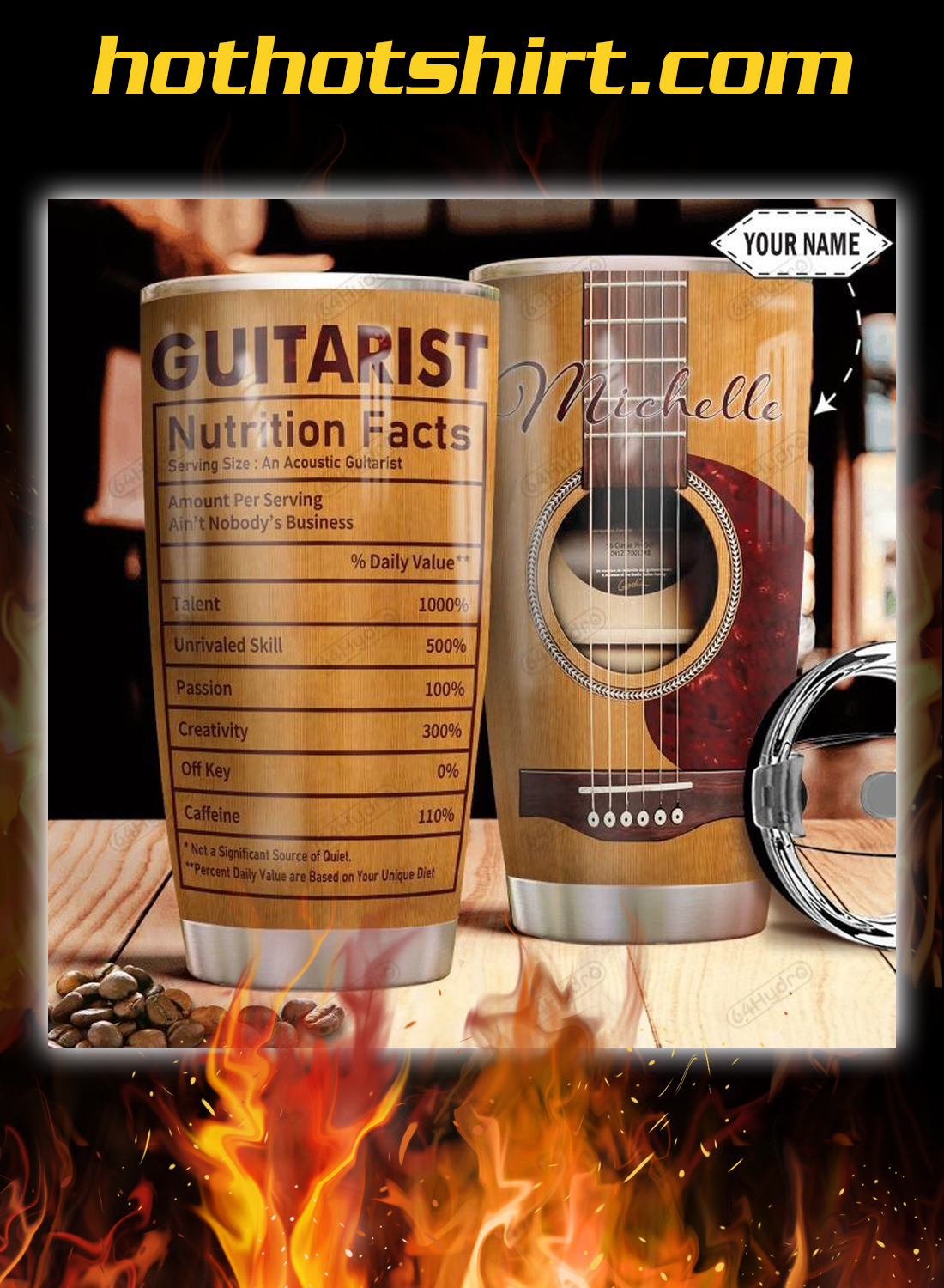 Acoustic Guitar Nutrition Facts Personalized Custom Name tumbler