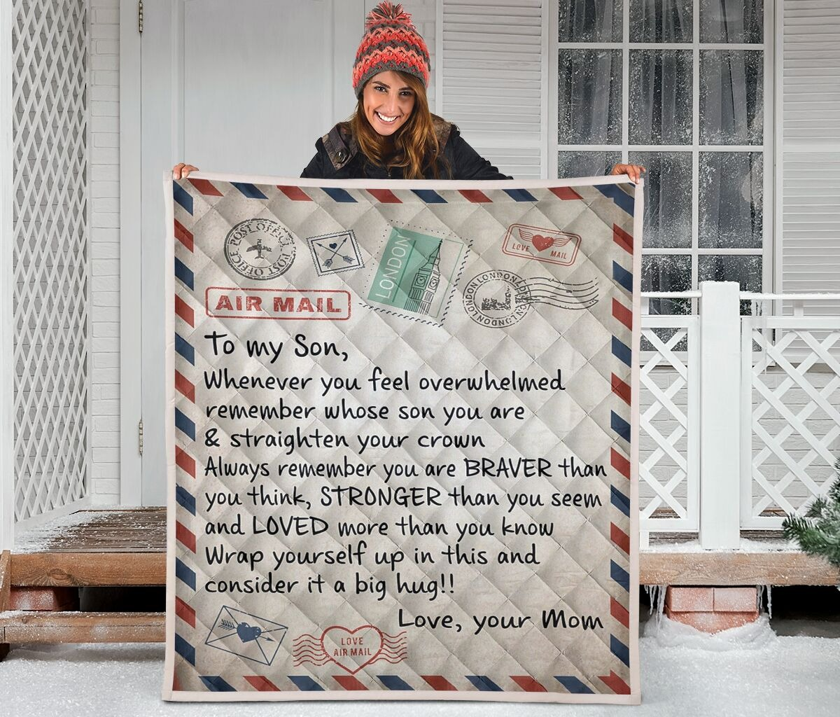 Air mail To my son whenever you feel overwhelmed blanket - LIMITED EDITION