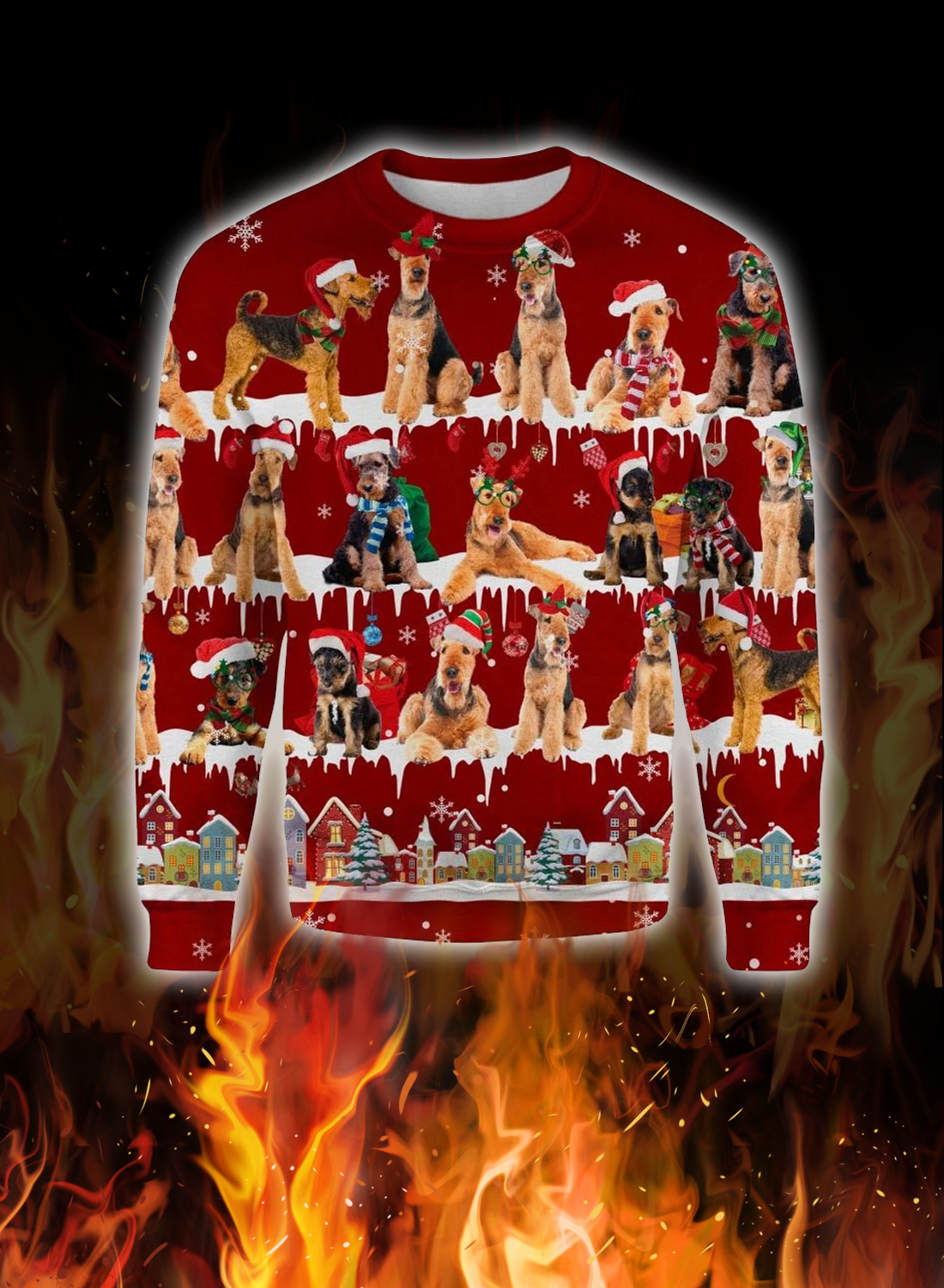Airedale Terrier snow christmas ugly sweater 1