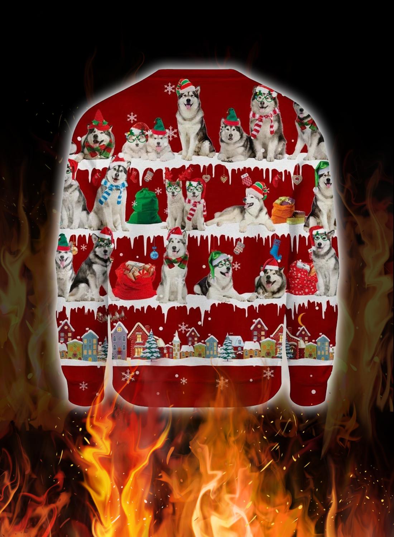 Alaskan Malamute snow christmas ugly sweater 2