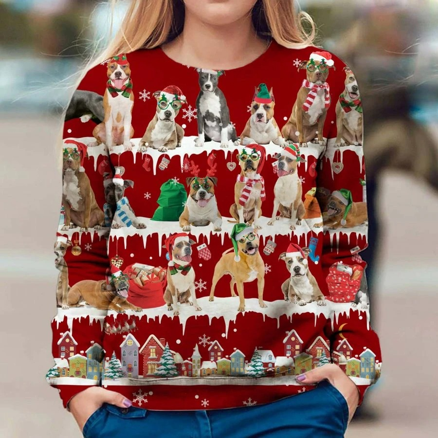 American Staffordshire Terrier snow christmas ugly sweater